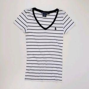 Ralph Lauren Sport Black White Stripe V-Neck Top